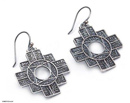 Silver filigree earrings, 'Astral Cross'