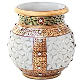 CUT WORK MARBLE FLOWER POT WITH GOLD AND KUNDAN WORK