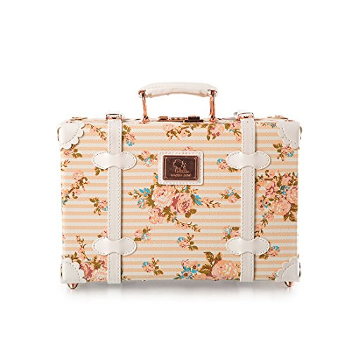 13-Inch-Pu-Leather-Small-Suitcase-Floral-Decorative-Box-with-Straps-for-Women
