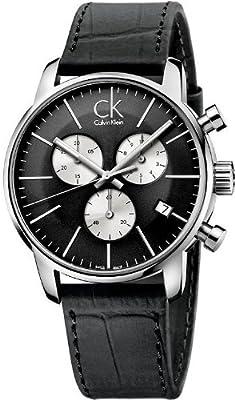 Calvin Klein Men's K2G271CX Black Leather Chronograph Watch