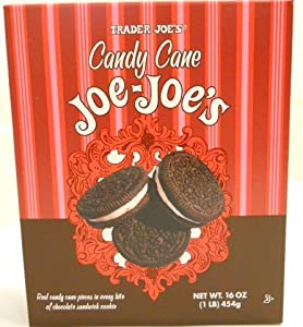 Trader Joes Candy Cane Joe Joes Sandwich Cookies Real Candy Cane Pieces in Every Bite !!! Limited Edition for the Festive Season Limited Quantities At Trader Joes