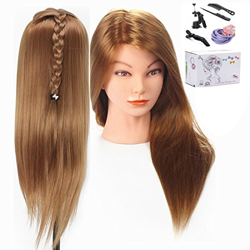 Mannequin head, 20 Inch Long Hair Cosmetology Mannequin Manikin Training Head Model with Clamp
