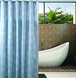 Extra Long Hookless Shower Curtain 80 Inch By 88 Inch Blue White With Hooks