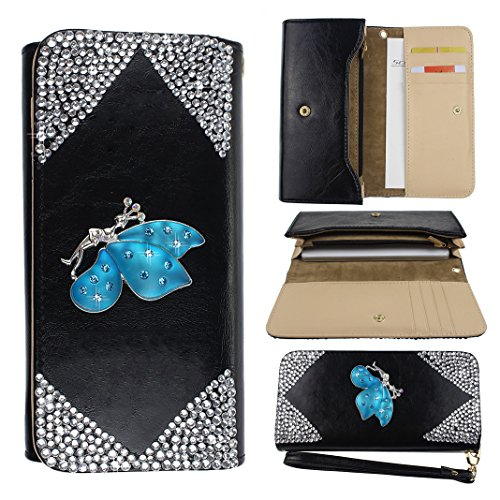 "ZXK Donna Portafoglio Lady Girls Clutch 3D Bling Strass Brosa Custodia in Pelle per Apple iPhone 6 (4.7"") Protettiva Portafoglio (Bianco Rhombus diamante + Blue Butterfly)"