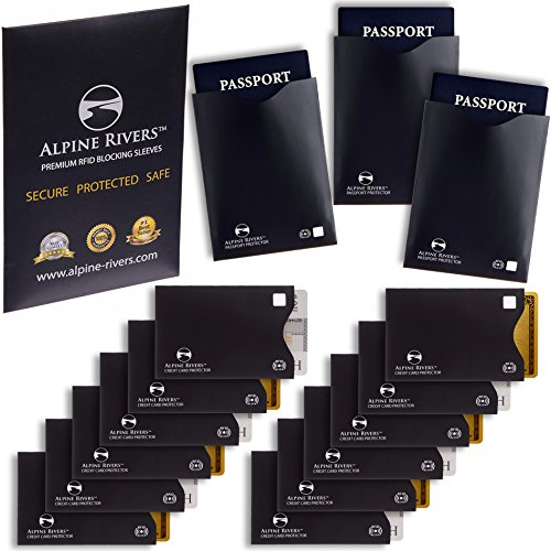 Set di 15custodie anticlonazione con protezione RFID (12per carte di credito e 3per passaporto), protezione eccellente contro il furto di identità, unisex. Design elegante e sottile, si adatta perfettamente a portafoglio/borsa. Premium Matte Black