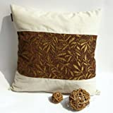 Onitiva - [Autumn Leaves] Linen Patch Work Pillow Cushion Floor Cushion (19.7 by 19.7 inches)