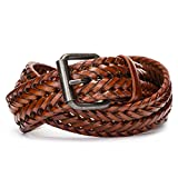 Tanpie Fashion Men's Braided Belt Leather Strap for Jeans Brown M
