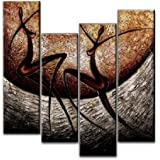 """Wieco Art 4-Piece """"African Dancers"""" Stretched and Framed Hand-Painted Modern Abstract Oil Paintings on Canvas Wall Art Set"""