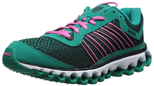 K-Swiss Women's Tubes 151 Pattern Cross-Training Shoe, Dynasty Green/Shocking Pink, 6.5 M US