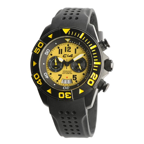 Carbon 14 Mens W13 Water 100M Chronograph Yellow and Black Dial Watch
