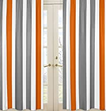 Gray Orange and White Window Treatment Panels for Stripe Collection - Set of 2