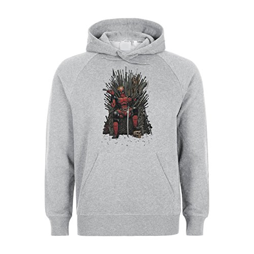 Deadpool seduto, motivo: The King, Felpa con cappuccio Unisex grigio Large