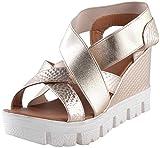 Deccan Shoes Girl's Gold Satin Sandals (36 EU)