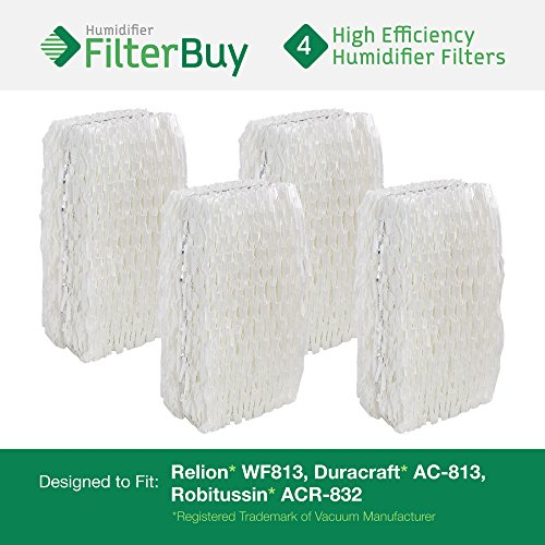 4 - WF813 ReliOn, AC-813 Duracraft , ACR-832 Robitussin Humidifier Wick Replacement Filters. Designed by FilterBuy to fit ReliOn RCM832 (RCM-832) RCM-832N, DH-832 and DH-830 Humidifers. (Duracraft Humidifer Filter compare prices)