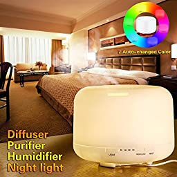 BASSTOP 500ml Oil Diffuser Ultrasonic Air Humidifier with 4 Timer Settings 7 LED Color Changing Lamps, 10 Hours for Home, Office, Bedroom Room, Beauty Salon, Hospital and More