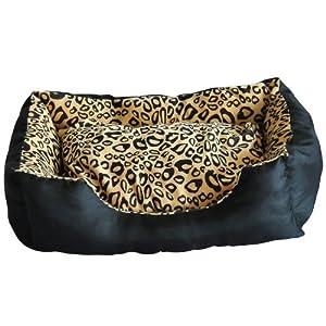 coussin matelas corbeille panier lit lavable pour chien chiot chat couleur leopard 90x70x25cm. Black Bedroom Furniture Sets. Home Design Ideas