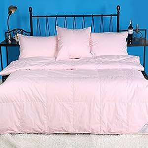summer lightweight 100 hungarian white goose down comforter solid pink king. Black Bedroom Furniture Sets. Home Design Ideas