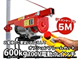 5m 家庭用100V電動ウインチ(ホイスト)+オプションフレームセット 最大能力600KG