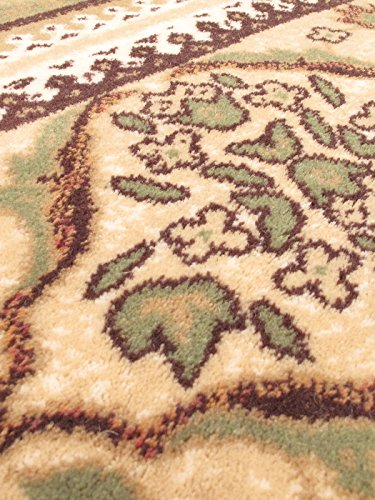 eCarpetGallery Royale 5-Feet 3-Inch by 7-Feet 7-Inch Wool/Silk Rug, Ivory, Light Green
