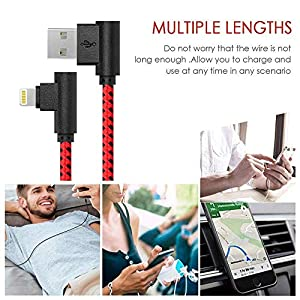 3FT 6FT 10FT 3 Pack iPhone Charger 90 Degree Right Angle Fast Data Cable Nylon Braided Compatible with iPhone Xs Max/XS/XR/8/8Plus and More£¨red-Black£