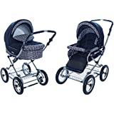 Roan Kortina Classic Pram Stroller 2-in-1 with Bassinet and Seat - Navy - Chequered