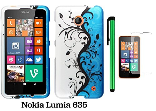 Nokia Lumia 635 Premium Pretty Design Protector Hard Cover Case (Us Carrier: T-Mobile, Metropcs, And At&T) + Screen Protector Film + 1 Of New Assorted Color Metal Stylus Touch Screen Pen (Blue Silver Black Vine Swirl)