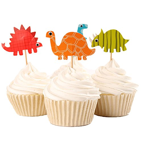 BETOP® Set of 24 Pieces Cute Animals Giffra Elephant Lion Zebra Dinosaurs Dessert Muffin Cupcake Toppers for Picnic Wedding Baby Shower Birthday Party Server (#Dinosaurs)