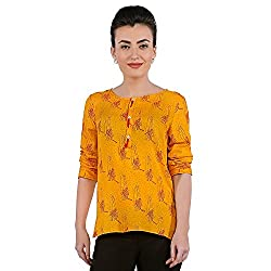 Funk For Hire Women Rayon Katputli printed Placket Top (Mustard, Size M)