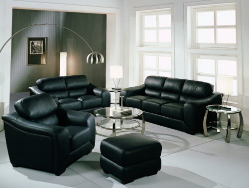 Harbor Drive Black Leather Loveseat (loveseat Only chair and sofa not included)