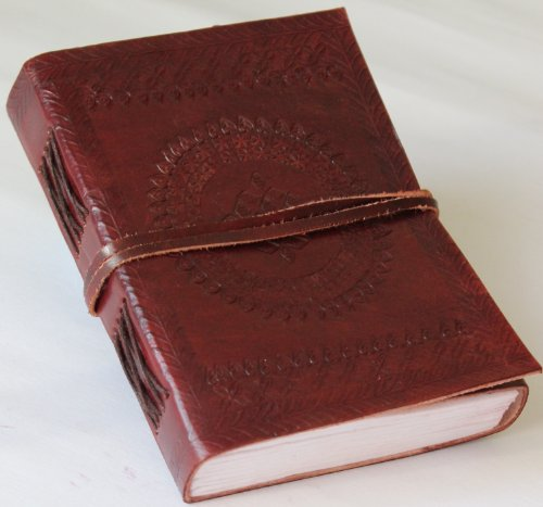 Classic Embossed Leather Journal Diary (Handmade) with leather strap closure