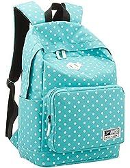 Samaz Polka Dots Travel Bags Laptop Backpack For College Girls, Light Blue