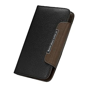 PREMIUM Black Leather Skin Wallet Case Cover Pouch for Samsung Galaxy Note i9220 N7000, Lanyard inlcuded
