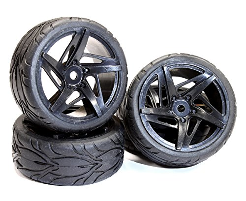 Integy RC Hobby C24999BLACK Type RK Complete Wheel & Tire Set (4) for 1/10 Touring Car (Rc Slash Tires compare prices)