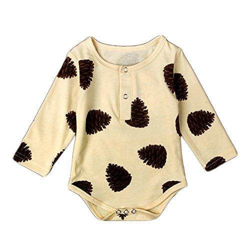 Baby Boys Girls Pinecone Print Long Sleeve Bodysuit (95 (9-12M), Yellow)
