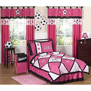 Sweet Jojo Designs Pink and Black Soccer 4 pc. Twin Bedding Ensemble will add instant Sporty style to your girls room. This Soccer themed children's bedding set combines the colors of Pink and Black, using solid and plaid 100% cotton fabrics. Through...