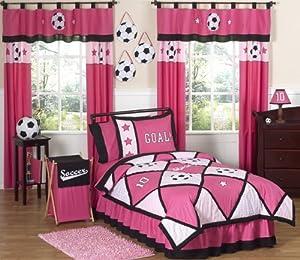 Girls Soccer Childrens Bedding 4pc Twin Set by Sweet Jojo Designs