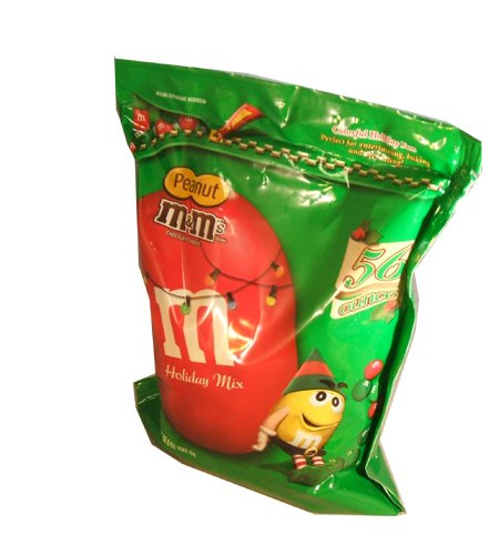 M&M Peanut Christmas Hanukah New Years Red and Green Holiday Assortment Candies 56 Ounce Value Bag