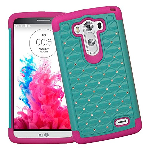 Mylife Retro Mint Green + Pink Inside {Classy Diamond Duall Layer Design} 2 Piece Hybrid Reflex Case For The Lg G3 Smartphone (Outer Rubberized Fit On Protector Shell + Internal Silicone Secure-Grip Bumper Gel) front-48010