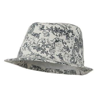 Ladies Corduroy Printed Fedora Hat - Black