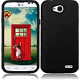 Pleasing Black Double Protection Hi-Tech DURABLE Two in One Hard and Silicon Cover Case for LG Ultimate 2 L41C (by Net10 , Tracfone , Straight Talk) with Free Gift Reliable Accessory Pen
