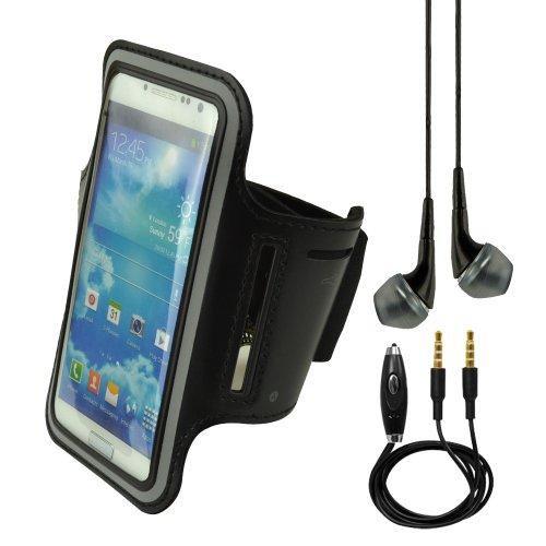 Black Sports Armband For Nokia Lumia 1020 920 Samsung Galaxy S4 I9500 S3 I9300 Lg Nexus 5 + Vangoddy Headphone With Mic, Black + Black Auxiliary Cable