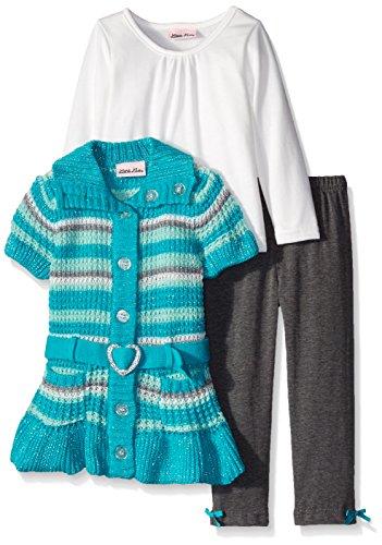 Little Lass Little Girls' 3 Piece Sweater Set Belted Striped Knit, Winter Green, 3T
