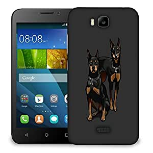 Snoogg Black Dogs Designer Protective Back Case Cover For HUAWEI HONOR 7
