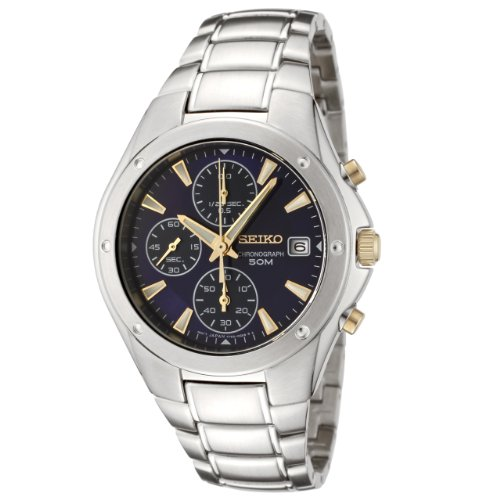 Seiko Men's SNDB01 Silver Stainless-Steel Quartz Watch with Blue Dial