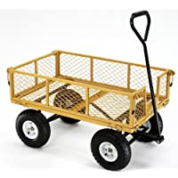 Farm & Ranch FR 1245 Steel Utility Cart with Removable Folding Sides and 10-Inch Pneumatic Tires, 900-Pound Capacity, 34-Inches by 21.5-Inches, Yellow Finish - Manufacturer: Tricam - Model: FR 1245