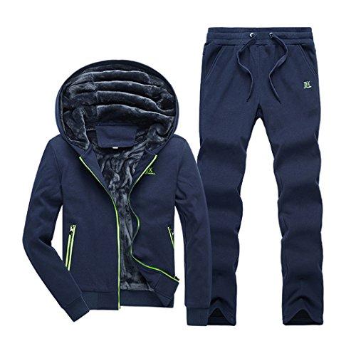 Real Spark(TM) Men Casual Zip Up Cotton Faux Fur Lined Track Suit Hoodie Sweatpants Set Sportswear Blue L