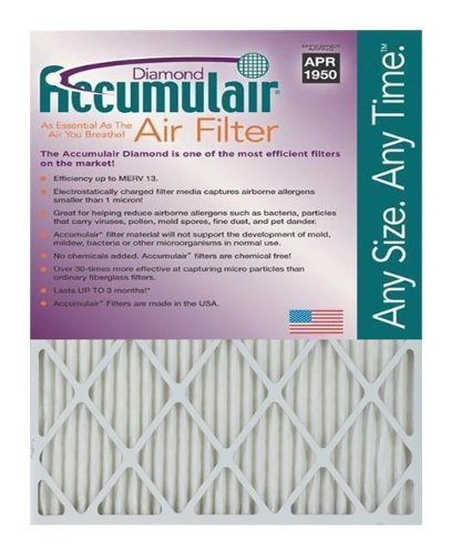 "Accumulair FD23X25A_6 Diamond (Actual Size) MERV 13 Air Filter/Furnace Filters, 23"" L x 25"" W, 6 Piece"