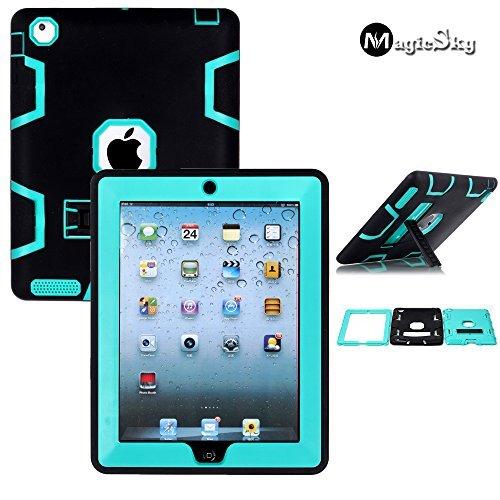 iPad 2/3/4 Case - MagicSky Heavy Duty Shock-Absorption Rugged Hybrid Case Cover for iPad with Retina Display (iPad 4), iPad 3, iPad 2- Cyan/Black