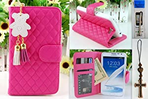 NOTE II Shocking Pink Qulited Leather Stand Case Card Holder Wallet + Bear Fringed Dust Plug Charm for Samsung Galaxy Note 2 II N7100 N7105 Ship From Hong Kong