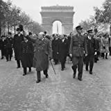 Winston Churchill and General Charles de Gaulle walk down the Avenue des Champs-Elysee duirng the French Armistice Day parade in Paris, 11 November 1944. from The Imperial War Museum (THIS IS AN ART PRINT)
